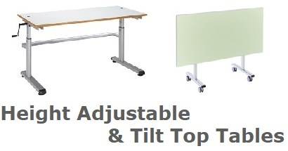 Tilt Top and Height Adjustable Tables